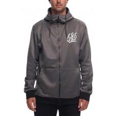 686 Men's Icon Bonded Fleece Zip Hoody Grey Melange (M L)