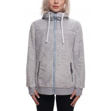686 Women's Flo Polar Zip Fleece Hoody LT GREY MELANGE (S M)